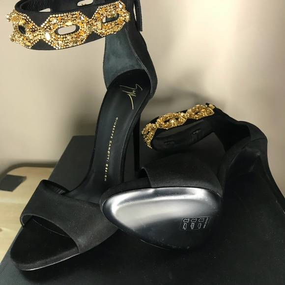 2ad2329c85ab4 Giuseppe Zanotti Shoes | Black And Gold Coline Sandals | Poshmark